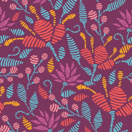 Emboridered Flowers Seamless Pattern Background