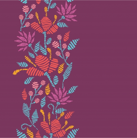 border line: Emboridered Flowers Vertical Seamless Pattern border Illustration
