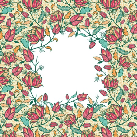 repetition: Colorful flowers and leaves frame seamless pattern border Stock Photo