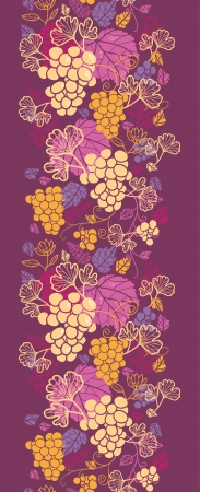 fall harvest: Sweet grape vines vertical seamless pattern background border Illustration