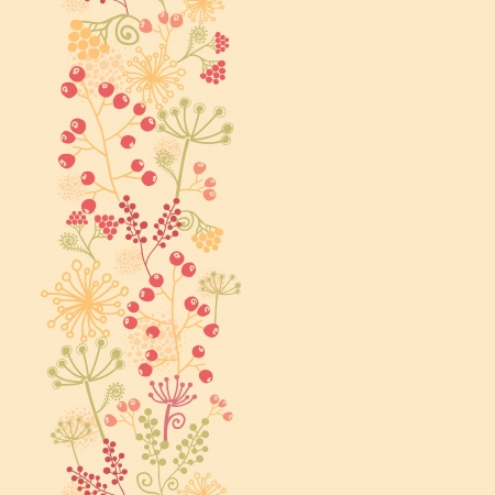 Summer berries vertical seamless pattern background border Vector