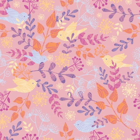 Birds among flowers seamless pattern background Stock Vector - 16583053