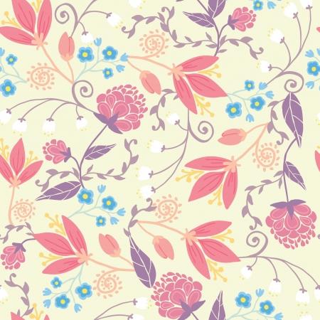 신선한 필드 꽃과 원활한 패턴 배경 나뭇잎