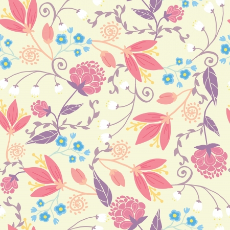 Fresh field flowers and leaves seamless pattern background Illustration