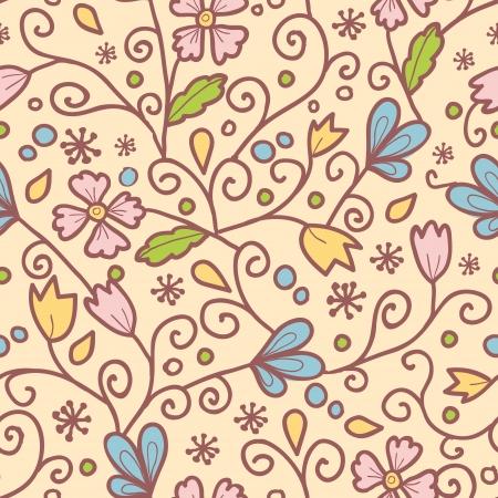 꽃과 원활한 패턴 배경 나뭇잎