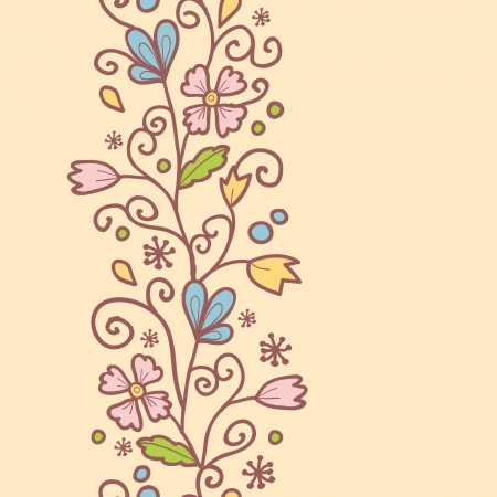 Flowers and leaves vertical seamless pattern background border Vector