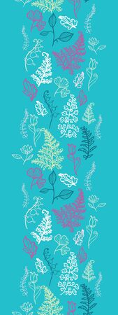 Blue Leaves Vertical Seamless Pattern Background Border Stock Vector - 16583028