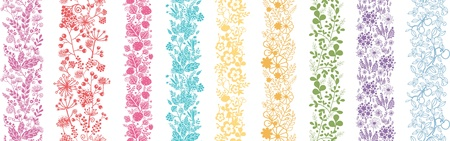Set Of Nine Abstract Plant Vertical Seamless Patterns Border Vector