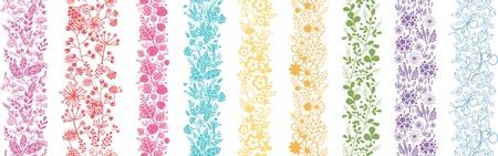 Set van negen Abstract Plant Verticaal Seamless Patterns Grens