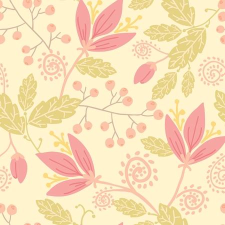 Bloemen en bessen naadloze patroon achtergrond Stockfoto - 16583015