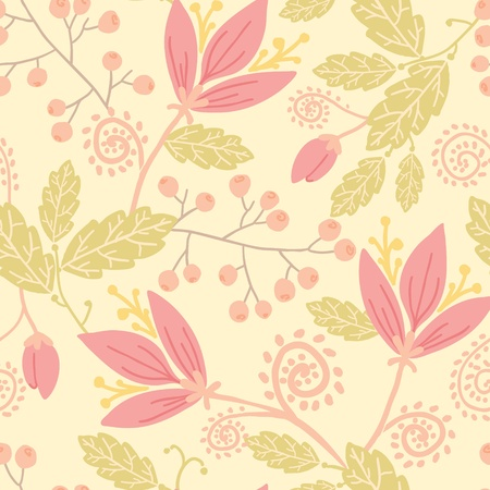 Flowers and berries seamless pattern background Vector