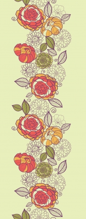 Garden peony flowers and leaves vertical seamless pattern Vector
