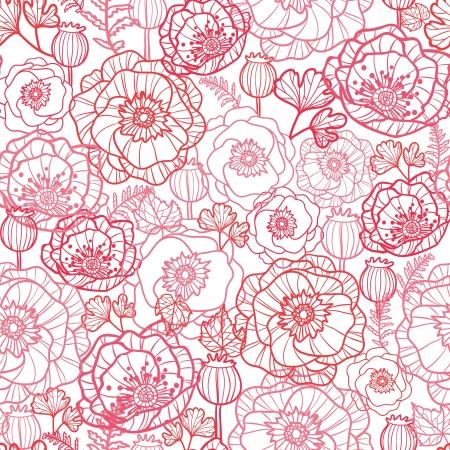 양귀비 꽃 라인 아트 원활한 패턴 배경