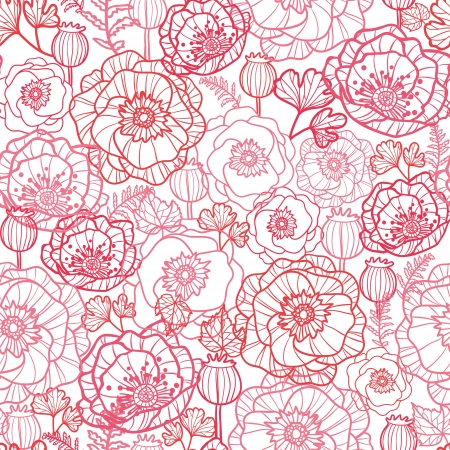 Poppy flowers line art seamless pattern background