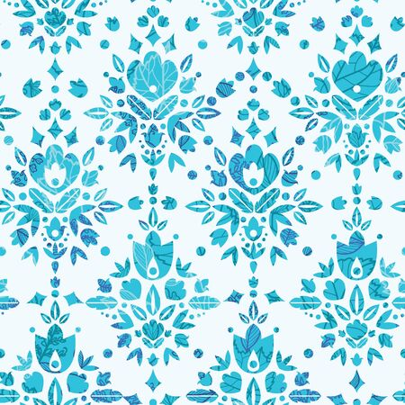 Abstract Flower Damask Seamless Pattern Background Illustration