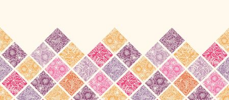 horizontal: Floral mosaic tiles horizontal seamless pattern border