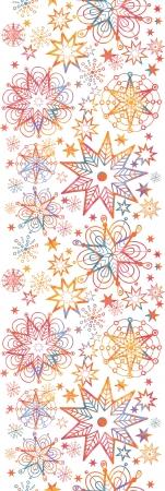 Textured Christmas Stars Vertical Seamless Pattern Border Illustration