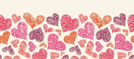 Textured Red Hearts Horizontal Seamless Pattern Border Stock Photo - 16583062