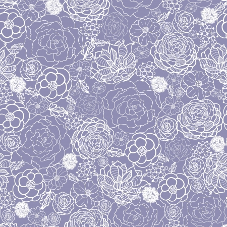 Purple lace flowers seamless pattern background Vector