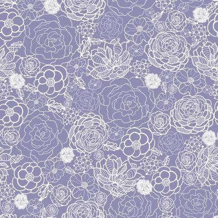 white lace: Purple lace flowers seamless pattern background
