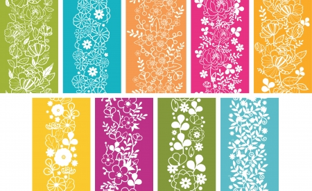 Set Of Nine Spring Flowers Vertical Seamless Patterns Borders Vector
