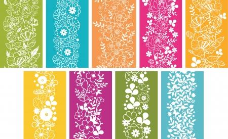 Set Of Nine Spring Flowers Vertical Seamless Patterns Borders Stock Vector - 16602334