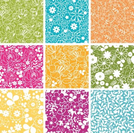 spring: Set Of Nine Spring Flowers Seamless Patterns Backgrounds Illustration