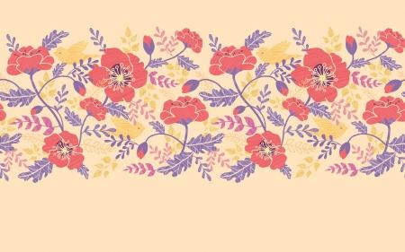 Poppy flowers and birds horizontal seamless pattern border Ilustração