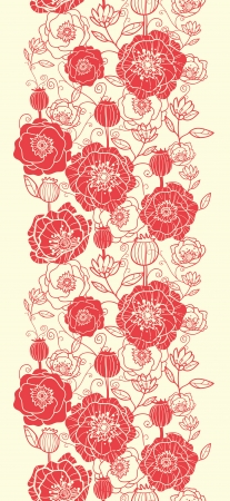 Red poppy flowers vertical seamless pattern border