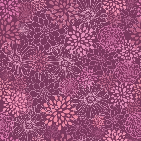 Purple field flowers seamless pattern background Vector