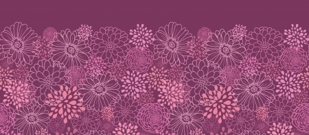 Purple field flowers horizontal seamless pattern border Vector