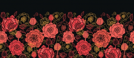 Red and black poppy flowers horizontal seamless pattern border Vector