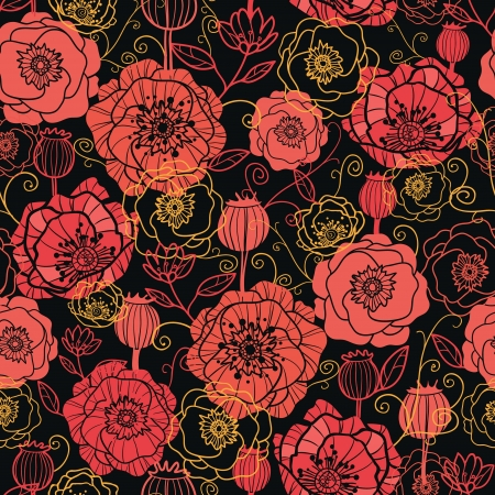 Red and black poppy flowers seamless pattern background Ilustracja