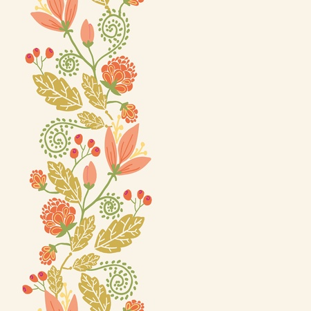 Spring flowers and berries vertical seamless pattern border Vector