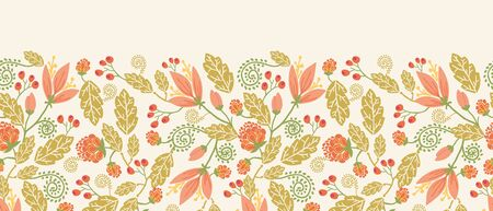 Spring flowers and berries horizontal seamless pattern border Vector