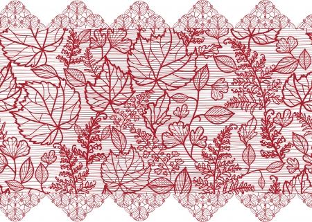 lace: Flores rojas de encaje frontera horizontal seamless pattern Vectores