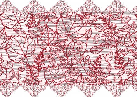 Red lace flowers horizontal seamless pattern border Vector