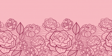 Red line art flowers horizontal seamless pattern border