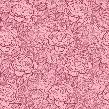 Red line art flowers seamless pattern background Vector