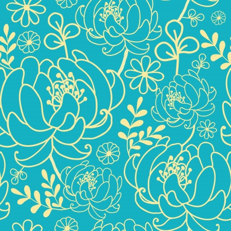 Yellow and blue flowers and leaves seamless pattern background Vector