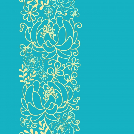 Yellow and blue flowers and leaves vertical seamless pattern  Vector