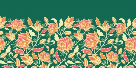 Magical flowers and leaves horizontal seamless pattern border Vettoriali