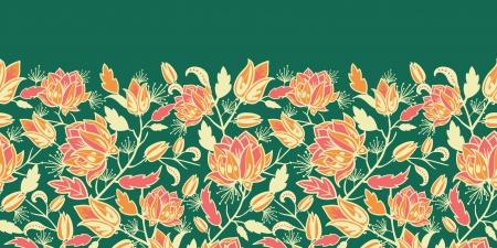 Fleurs magiques et laisse horizontale frontière seamless pattern Banque d'images - 16602313