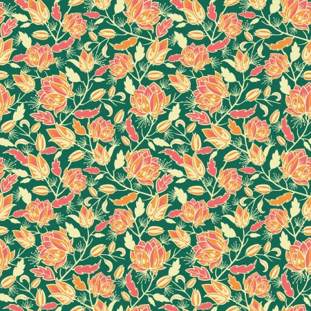 Magical flowers and leaves seamless pattern background Vector