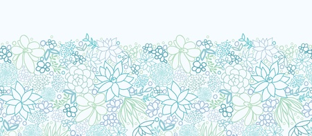 Succulent Plants Horizontal Seamless Pattern Background Border Vector