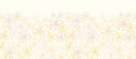 Abstract Fluffy Plants Horizontal Seamless Pattern Border Vector