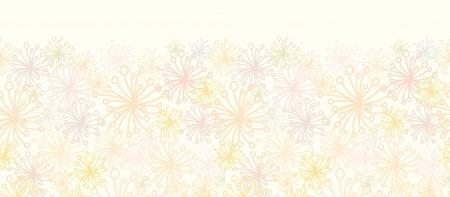 horizontal: Abstract Fluffy Plants Horizontal Seamless Pattern Border Illustration