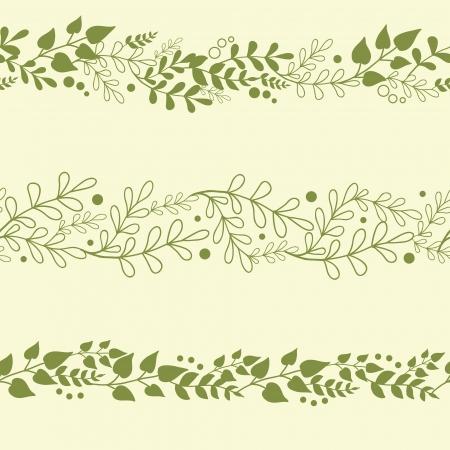 3 つの緑の植物水平のシームレスなパターンの背景に設定します。  イラスト・ベクター素材