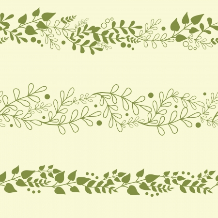 Three Green Plants Horizontal Seamless Patterns Backgrounds Set Vector