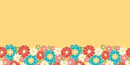 horizontal: Camomiles horizontal seamless pattern background border